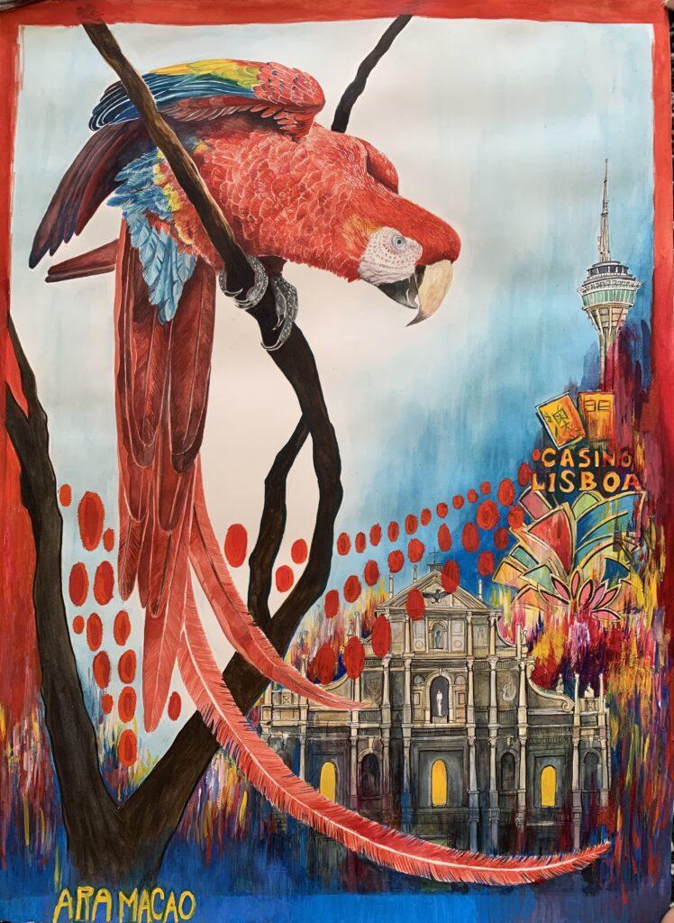 """Parrot """"Ara in Macao"""" by Andrés Silva Vignoli"""